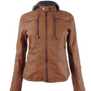 Maralyn & Me Hoodie Faux-Leather Jacket Sz XS